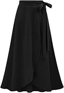 Womens Solid High Waist A-line Flared Skater Slit Midi Maxi Skirts