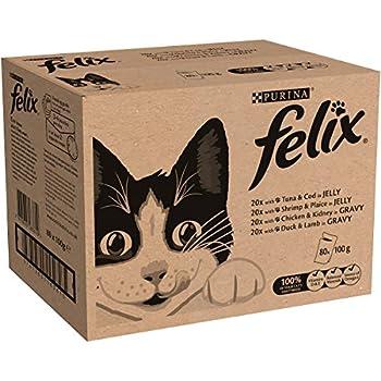 Purina Felix - Les tendres effilés - Gelée pour chat avec b?uf, poulet, cabillaud et thon - 80 x 100g