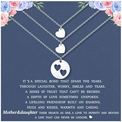 Mother Daughter Necklace Set for 3 Matching Cutout Heart Sliver Necklaces Mommy and Me Jewelry product image