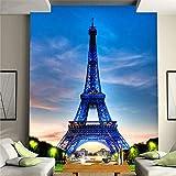 Papel tapiz mural 3d El cielo azul más caliente Edificio de la Torre Eiffel Mural estéreo 3DRestaurante Clubs KTV Bar Moda Interior Entrada Decoración Mural
