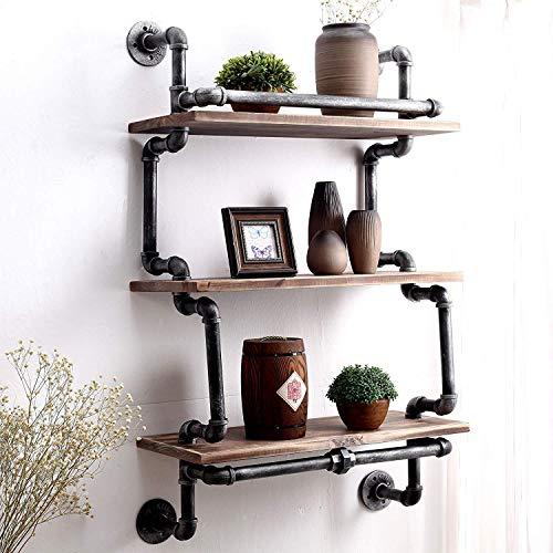 Shelves 3 niveles de tubo industrial de pared vintage rústico de hierro montado en la pared estante tablero de madera estantería hogar restaurante bar tienda decoración almacenamiento