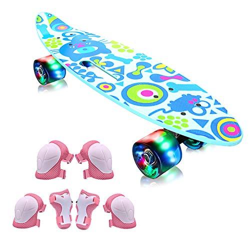EiDevo Skateboard Plástico Retro Completo,Monopatín Completo Penny Board con 4 LED PU Ruedas,Mini Cruiser Skateboard con All-in-One Skate T-Tool,Skateboard para niños y niñas (Verde)