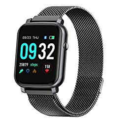 Image of Anmino Smart Watch with Heart Rate Monitor BP Fitness Tracker IP68 Waterproof Activity Tracker Full Touch Screen Smartwatch Sleep Monitor Calorie Step Counter SMS Call Notification(Black Steel): Bestviewsreviews