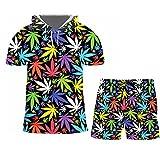 Camiseta de Verano con Estampado de Hoja de Arce en 3D + Pantalones Cortos Conjunto de 2 Piezas Ropa de Calle Chándal de Gran tamaño para Mujer Htsh60165 3XL