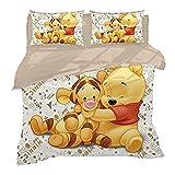 XWXBB Niciyo Winnie The Pooh - Juego de cama (3 piezas, funda nórdica y 2 fundas de almohada), diseño de Winnie the Pooh