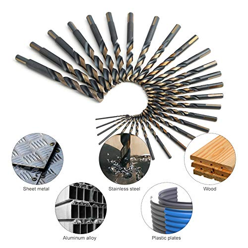 COMOWARE 29-Piece Drill Bit Set, High-Speed Steel Black and Gold Finish with 135 Degree Split Point Tip, 1/16