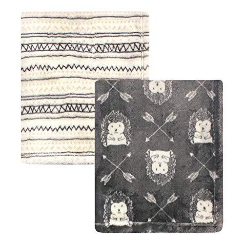 Hudson Baby Unisex Baby Cozy Plush Luxury Blankets 2pk, Hedgehog, One Size