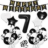 Gxhong 7 Año Globo de Cumpleaños Decoracion Globos de Confeti de Látex Estrellas Forma de Corazón 7 Numeros Globo de Lámina para 7 año de Edad Niño y Niña Aniversario Partido de Decoración Fiestas