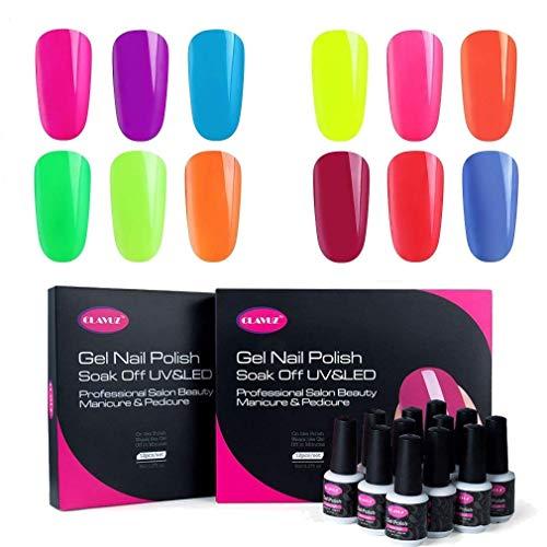 Clavuz Esmaltes Semipermanentes en Gel UV LED, 12pcs Neon Esmaltes de Uñas Soak-off (12 colores)