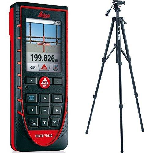 Leica Disto D510 - Medidor láser para exteriores, puntero con zoom de 4 aumentos (alcance 200 m) + TRI100 - Trípode con ajuste fino de gran sencillez para medidores y nies láser (altura máxima 1,74 m)