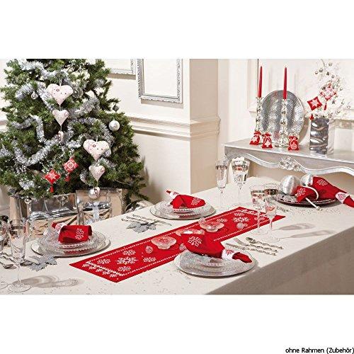 Vervaco Tischläufer Winter kann kommen Stickpackung/Läufer im vorgedruckten/vorgezeichneten Kreuzstich, Baumwolle, Mehrfarbig, 30 x 105 x 0.3 cm