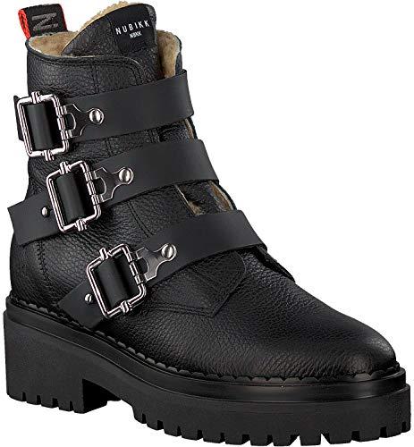 Nubikk Damen Biker Boots Stiefel Buckle Schwarz Gr. 40