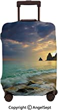 Home Protective Washable Suitcase Cover,Seascape Dramatic Clouds Sunrise From Seaside Hill Wavy Ocean Beach,23.6x31.9inches,Travel Elastic Polyster Suitcase Protector