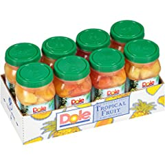 HEALTHY SNACKS: DOLE Jarred Tropical Fruit has five full servings of fruit packed in 100% fruit juice. A convenient snack to eat right out of the jar, our portable plastic resealable jar is a great option for healthy snacking at the office or on-the-...