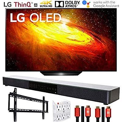 LG BX 4K Smart OLED TV with AI ThinQ (2020 Model) with Deco Gear Home Theater Soundbar, Wall Mount Accessory Kit and HDMI Cable Bundle from LG