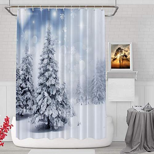 BaoNews Dekorativer Duschvorhang mit Weihnachtsbäumen & Schneeflocken, silbergraues Muster, dekorativer für Duschkabine, Badezimmer, widerstandsfähig wasserdicht, Standardgröße 183 x cm