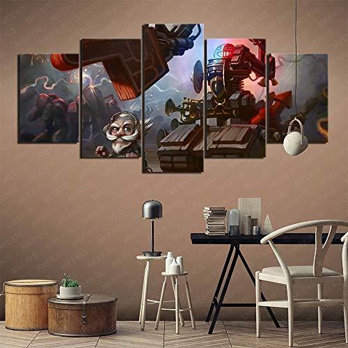 MEEKIS Hearthstone Legend of Warcraft Heroes Leinwand Wanddruck HD 5 Panel Shop Atmosphäre 100x50cm Rahmenlos