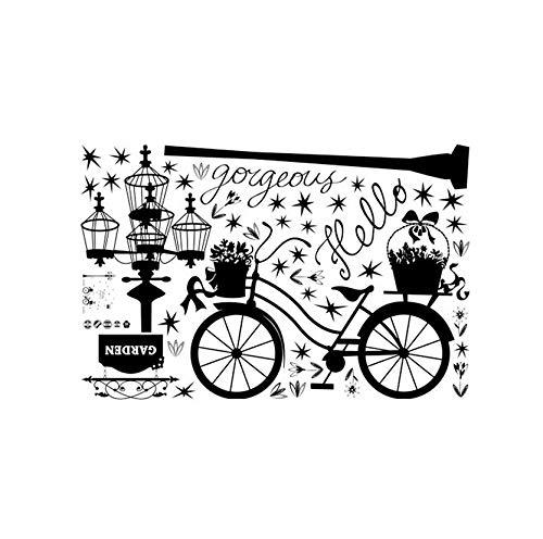 Zwarte fiets, kleine mand met bloemen, vogelkooi, lantaarn met ster, afneembaar, vinyl, muursticker, kinderkamer, slaapkamer, thuisdecoratie