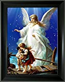 Lee's Collection Holographic Picture with Black 14.5 inches x 18.5 inches Guardian Angel 3D Animated Picture & Black Frame