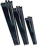 Werkzeyt B20451- Surtido de bridas para cables - negro - varios tamaños en un juego - 75 piezas - reutilizable - poliamida - resistente a los rayos UV / juego de bridas para cables / conector de cable