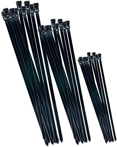 Werkzeyt Kabelbinder-Sortiment - schwarz - Diverse Größen im Set - 75 Stück - Wiederverwendbar - Polyamid - UV-beständig / Kabelbinder-Set / Kabelverbinder / B20451