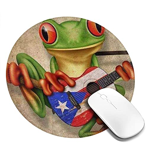 Laubfrosch spielt Puerto Rico Flagge Gitarre gedruckt Runde Mauspad, Mousepad für Desktop-Computer Laptop, Mausmatte für Working Gaming, Mini lustige einzigartige Mauspad für Zuhause, Büro Dekor