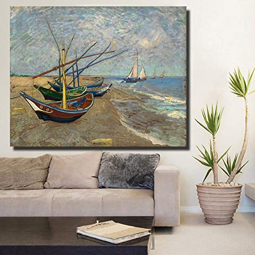Dongwall Gepunktete Fischerboot Landschaft Wandbild Wohnzimmer Kunst Wandbild Vincent Van Gogh Leinwand Öl Rahmenlos 50x70 am Strand