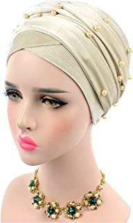 Fashion Velvet Nigeria Long Turban Headband Beaded Studded Pearled Extra Muslim Women Turban Head Wraps Hijab Head Shawl Scarf Beige