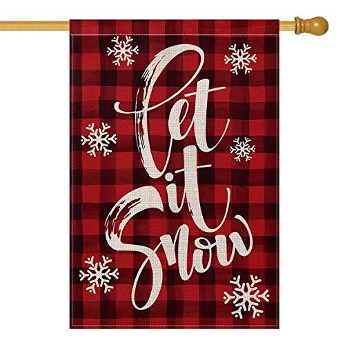 Avoin Wasserfarbe, Büffel-Plaid Let it Snow, Gartenflagge, vertikal, Doppelgröße, für Weihnachten, Winter, Urlaub, Bauernhof, Jute für den Außenbereich, 31,8 x 45,7 cm House Size-28 x 40 rot