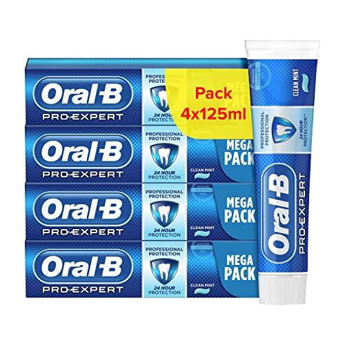 Oral-B Dentifrice Pro-Expert Protection Professionnelle, 24h de protection contre la plaque dentaire, Reminéralise lémail, Arôme menthe, Carton recyclé écologique (Lot de 4x125ml)