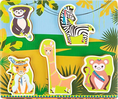 Small Foot- Puzzle Jungle, certifié FSC 100%, Les Formes en Bois colorées avec Motif Animalier apprennent aux Enfants Jouets, 11095, Multicolore