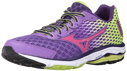 Mizuno Women's Wave Rider 18 Running Shoe, 8 B(M) US - Deep Lavender/Fuchsia Purple