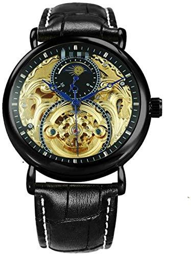 JDHFKS Relojes Tallado Reloj mecánico de Cuero auténtico de la Correa de Sun Moon Desfile de Moda Reloj de Pulsera automático 24cm
