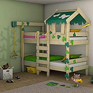 WICKEY Bunk Bed Crazy Ivy Play Bed for 2 Children Loft Bed with roof, Climbing Ladder and slatted Bed Base, Green-applegreen