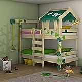 WICKEY Litera CrAzY Ivy Cama para jugar para 2 niños Cama alta con techo,...