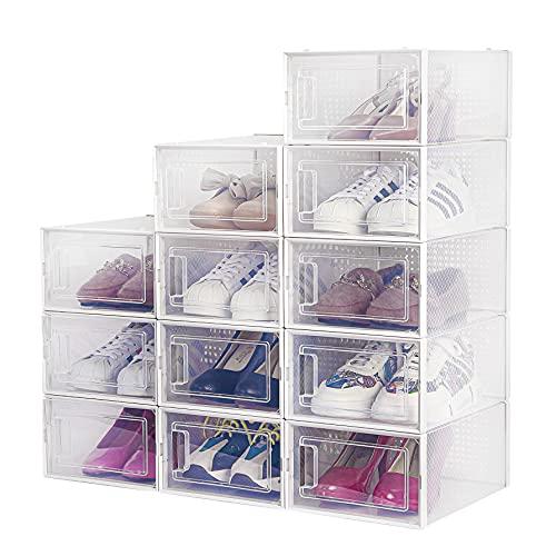 Cajas de Zapatos, Paquete de 12 Cajas de Almacenamiento de Zapatos Transparentes, Cajas para Zapatos de Plástico Plegable, 33×23×14 cm por Casillero, para Zapatos, Tacones Altos, Zapatillas de Deporte