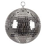 Boland 00703 Boule à facettes argentée Ø env. 20 cm, Disco Fever, années 70, décoration à Suspendre, Boule pailletée, pour fête, Carnaval