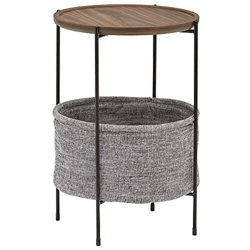 Side Table, Small Space Industrial Round Coffee Table, Bedroom, Living Room, Dormitory, Office Retro Oak Finish 33 * 42.3 * 60cm