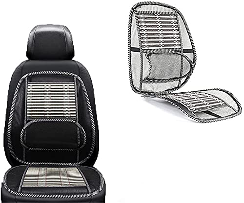 Ergonomic Bamboo Car Seat Pad-Car Seat Office Chair Bamboo Chip Cover, Summer Car Ventilate Cooling Pad with Wire Mesh Lumbar Back Suppor Massage Bamboo Silk Cushion