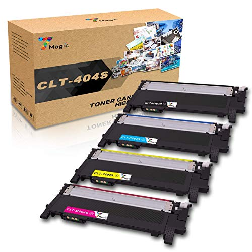 CLT-404,7Magic Tóner Compatible con Samsung CLT-P404C CLT-404S, CLT-K404S CLT-C404S CLT-M404S CLT-Y404S, Compatible con Samsung Xpress SL C430 C430W C480 C480W C480FN C480FW Impresora(4 Paquete)