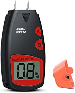 Wood Moisture Meter, Digital Portable Wood Water Moisture Tester, Digital Large LCD Display with 2 Spare Sensor Pins, Date Hold Function and Low Power Indication, one 9V Battery with Carrying Bag
