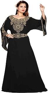 Arabic attire Women's Designer Neckline Black Caftan