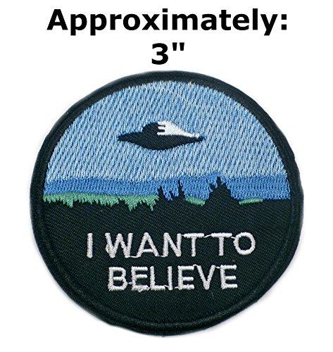I Want To Believe Patches Text Worte Logo Thema Platz und Ufo Fans TV-Serie Akte X u-sky bestickt Nähen oder zum Aufbügeln Patch Applikationen von Athena Marken