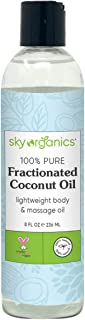 Fractionated Coconut Oil by Sky Organics (8 oz) Natural Fractionated Coconut Oil MCT Oil Moisturizing Coconut Carrier Oil ...