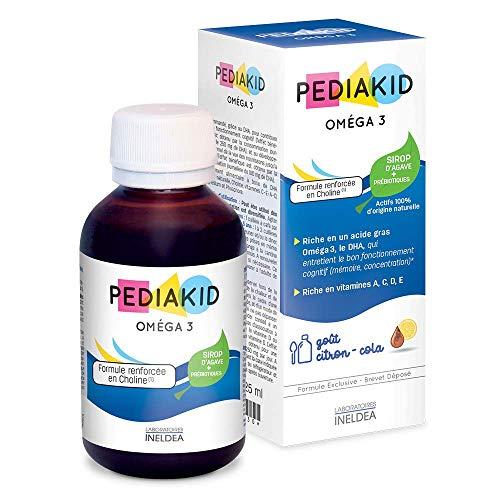 PEDIAKID - Complément Alimentaire Naturel Pediakid Oméga 3 - Formule Exclusive au Sirop d'Agave - Riche en DHA - Favorise le Bon Fonctionnement du Cerveau - Goût Citron-Cola - Flacon de 125 ml