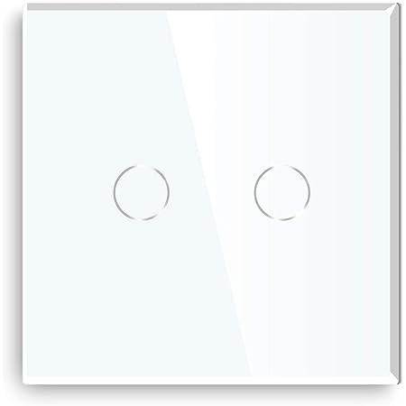 Glas Touch Lichtschalter Wandschalter Touchscreen Schalter LED Beleuchtung Weiss