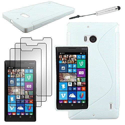 ebestStar - Cover Compatibile con Nokia Lumia 930 Custodia Protezione S-Line Silicone Gel TPU Morbida e Sottile + Mini Penna +3 Pellicole plastica, Bianco [Apparecchio: 137 x 71 x 9.8mm, 5.0'']