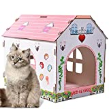 Cat House Wood Cat Beds Large Cave Wooden Cat House Removable Indoor Cat Hideaway for Kittens and Adult Cats (Pink, 16 x 8 x 14 inches)