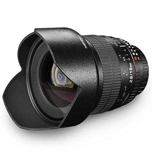 Walimex Pro 10 mm 1:2.8 DSLR-Weitwinkelobjektiv (für APS-C Sensor gerechnet, IF, mit fester Gegenlichtblende) für Nikon AE Objektivbajonett schwarz