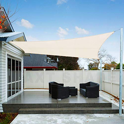 AXT SHADE Toldo Vela de Sombra Rectangular 3,5 x 4,5 m, protección Rayos UV Impermeable para Patio, Exteriores, Jardín, Color Crema